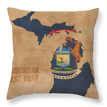 Michigan State Flag Map Outline With Founding Date On Worn Parchment Background Throw Pillow by Design Turnpike
