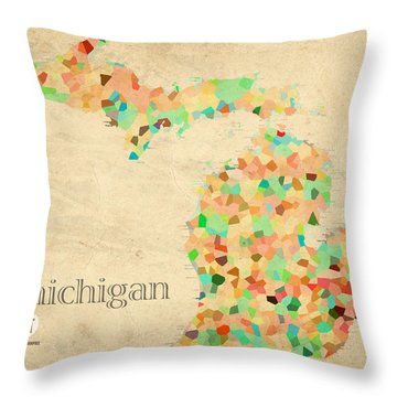 Michigan State Map Crystalized Counties On Worn Canvas By Design Turnpike Throw Pillow by Design Turnpike