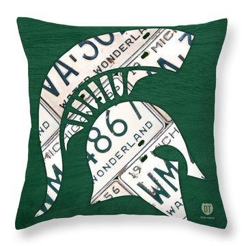 Michigan State Spartans Sports Retro Logo License Plate Fan Art Throw Pillow by Design Turnpike