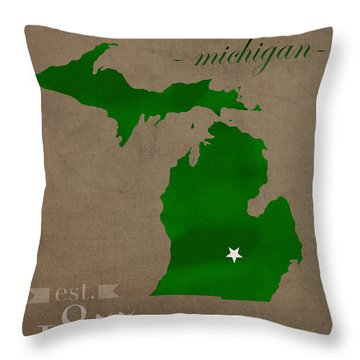 Michigan State University Spartans East Lansing College Town State Map Poster Series No 004 Throw Pillow by Design Turnpike