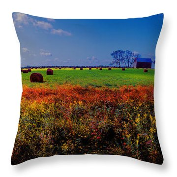 Michigan Uper  Farm Barn And Rolls Of Hay Brimly Michigan Throw Pillow