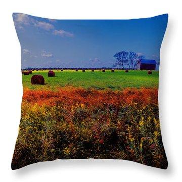 Michigan Uper  Farm Barn And Rolls Of Hay Brimly Michigan Throw Pillow