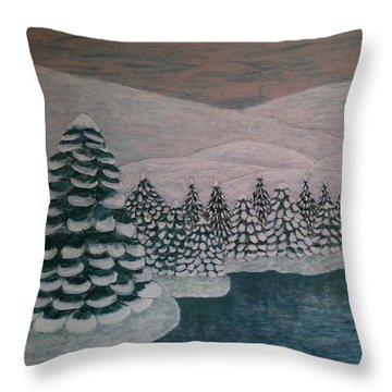 Throw Pillow featuring the painting Michigan Winter by Jasna Gopic