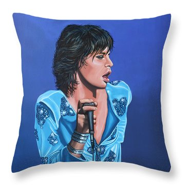 Mick Jagger Throw Pillow by Paul Meijering