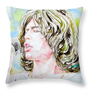 Mick Jagger Singing Watercolor Portrait Throw Pillow by Fabrizio Cassetta
