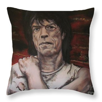 Mick Jagger - Street Fighting Man Throw Pillow