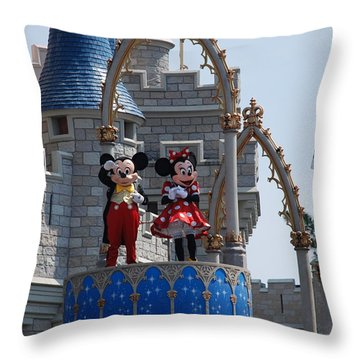Mickey And Minnie In Living Color Throw Pillow