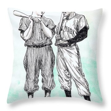 Mickey And Willie Throw Pillow by Mel Thompson