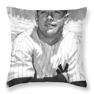 Throw Pillow featuring the drawing Mickey Mantle by Viola El