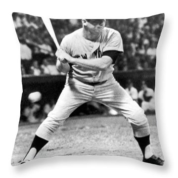 Mickey Mantle At Bat Throw Pillow by Underwood Archives