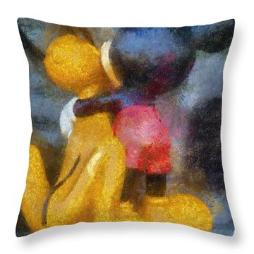 Mickey Mouse Photo Art Throw Pillow by Thomas Woolworth