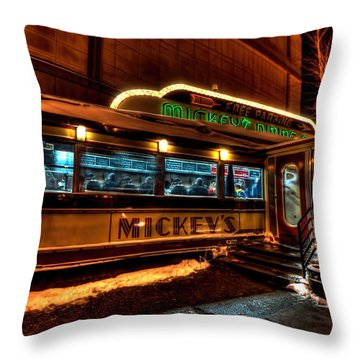 Mickey's Diner St Paul Throw Pillow by Amanda Stadther