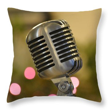 Microphone Throw Pillow by Cathy Jourdan