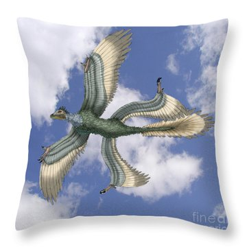 Microraptor Throw Pillow by Spencer Sutton