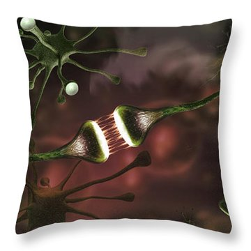 Nerve Cell Throw Pillows