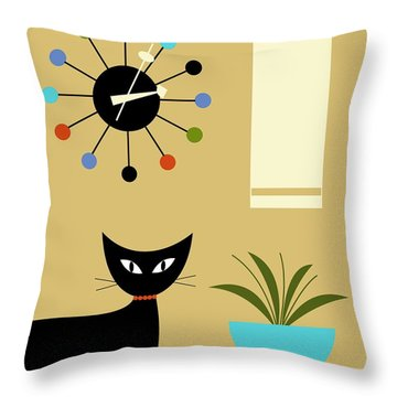 Mid Century Ball Clock 2 Throw Pillow by Donna Mibus