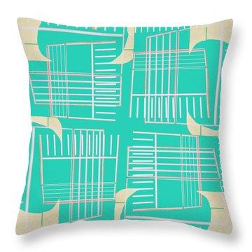 Mid-century Design Aqua Throw Pillow