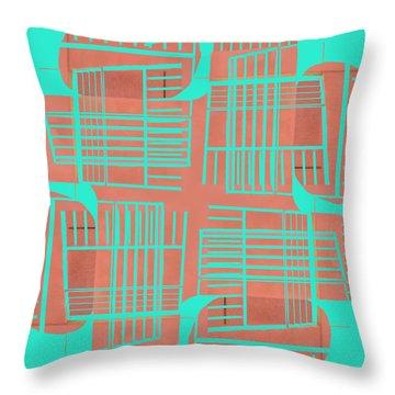Mid-century Design Dark Turquoise Throw Pillow