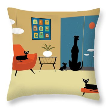 Mid Century Dogs And Cats Throw Pillow