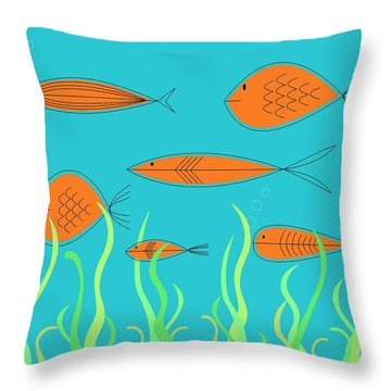 Mid Century Fish 2 Throw Pillow