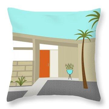 Mid Century Modern House 1 Throw Pillow