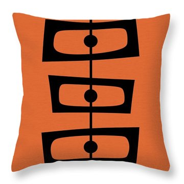 Mid Century Shapes On Orange Throw Pillow