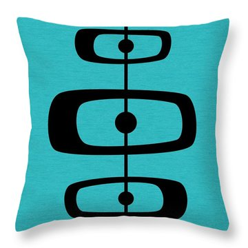 Mid Century Shapes 2 On Turquoise Throw Pillow