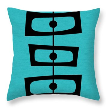Mid Century Shapes On Turquoise Throw Pillow