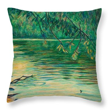 Throw Pillow featuring the painting Mid-spring On The New River by Kendall Kessler