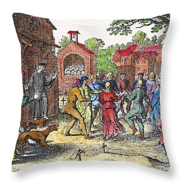 Middle Ages Dancing Mania Throw Pillow by Granger