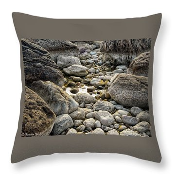 Middle Cove Rocks Throw Pillow by Heather Kertzer