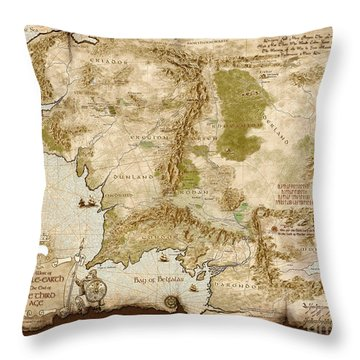 Middle-earth Map Burnt-edges Throw Pillow