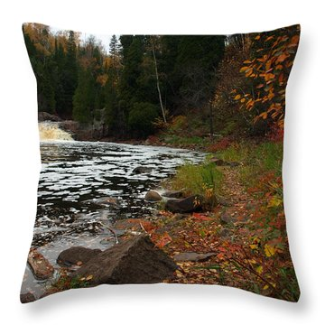 Middle Falls Tettegouche Throw Pillow by James Peterson