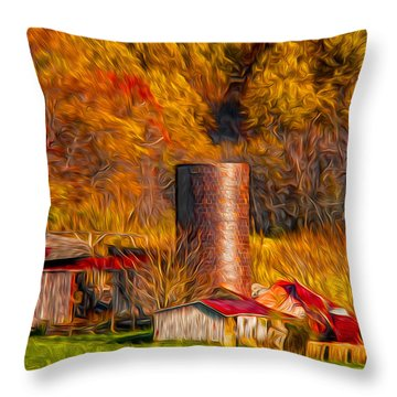 Middleburg Silo And Outbuildings Throw Pillow