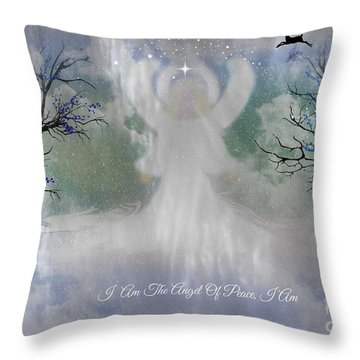 Midnight Angel Of Peace Throw Pillow by Sherri's Of Palm Springs