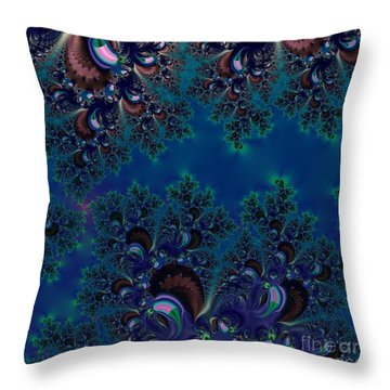 Midnight Blue Frost Crystals Fractal Throw Pillow