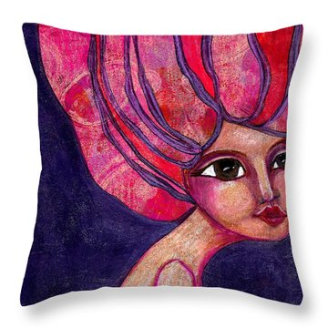 Throw Pillow featuring the mixed media Midnight Dreamer by Lisa Noneman