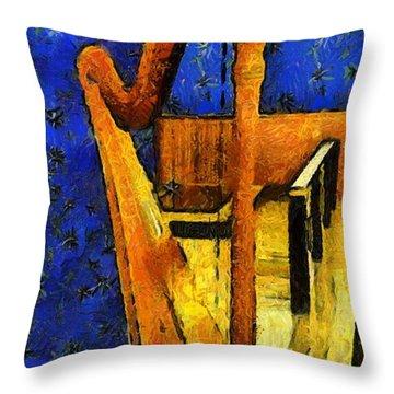 Midnight Harp Throw Pillow by RC DeWinter