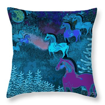 Midnight Horses Throw Pillow by Carol Jacobs