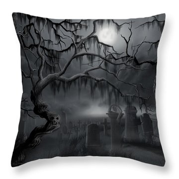 Midnight In The Graveyard  Throw Pillow by James Christopher Hill