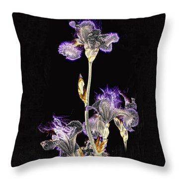 Midnight Iris Throw Pillow