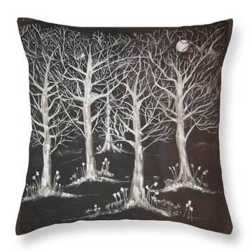 Throw Pillow featuring the painting Midnight Mystery Forest by Diane Pape