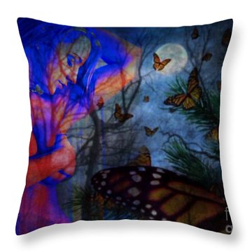 Throw Pillow featuring the digital art Midnight Nude With Butterflies by Diana Riukas
