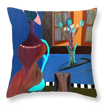 Throw Pillow featuring the painting Midnight On The Terrace by Bill OConnor