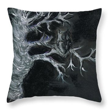 Throw Pillow featuring the drawing Midnight Owl by Teresa White