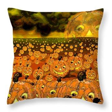 Midnight Pumpkin Patch Throw Pillow by Carol Jacobs
