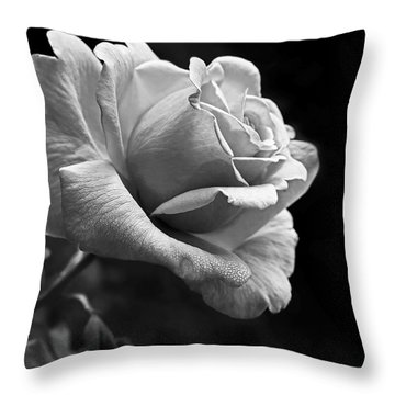 Midnight Rose In Black And White Throw Pillow