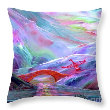 Midnight Silence, Flying Goose Throw Pillow by Jane Small