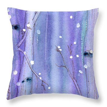 Midnight Snow In The Aspens Throw Pillow