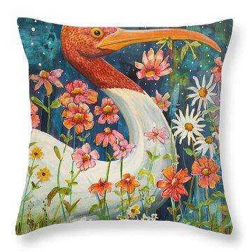 Midnight Stork Walk Throw Pillow by Blenda Studio